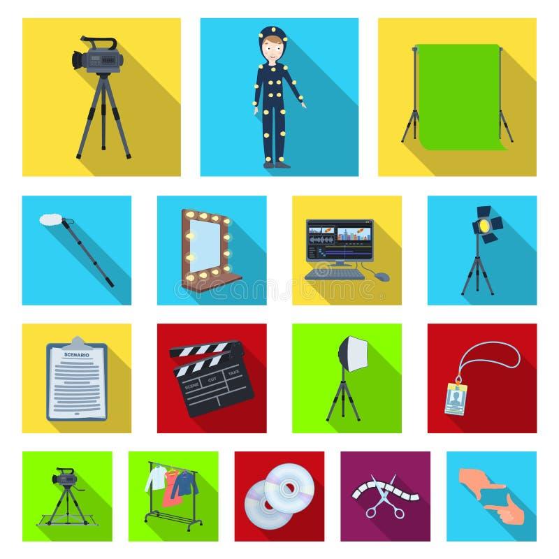 Rendendo ad un film le icone piane nella raccolta dell'insieme per progettazione Gli attributi e le attrezzature vector l'illustr illustrazione vettoriale