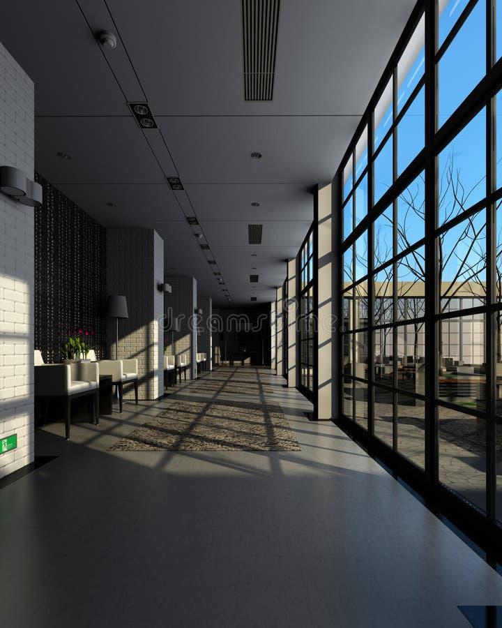 Rendendo o corredor moderno ilustração stock
