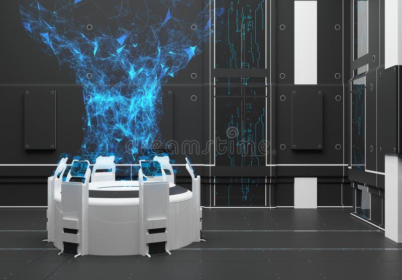 Rendendo o interior futurista com holograma ilustração do vetor