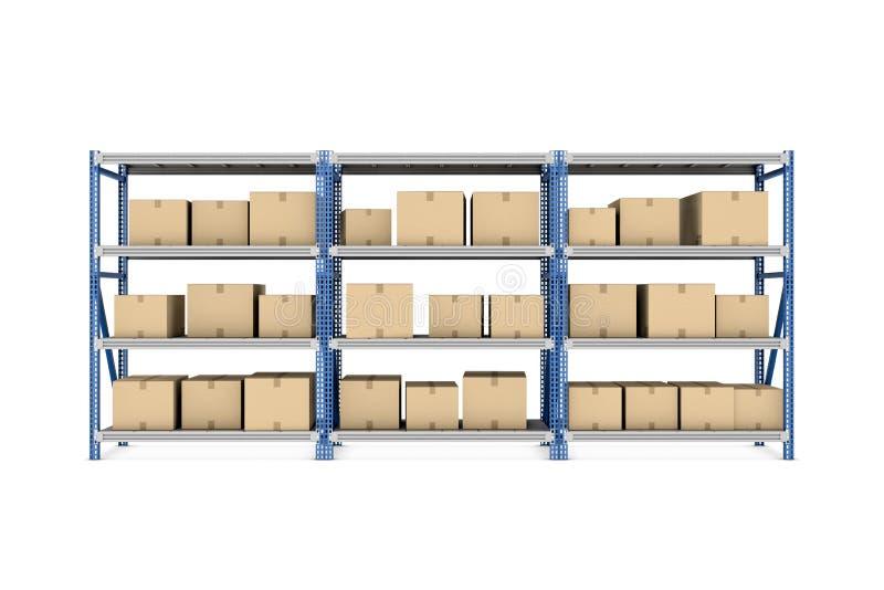 Rendendo três cremalheiras do metal postas junto com as caixas de cartão bege do tamanho diferente armazenadas lá, isoladas no ilustração stock
