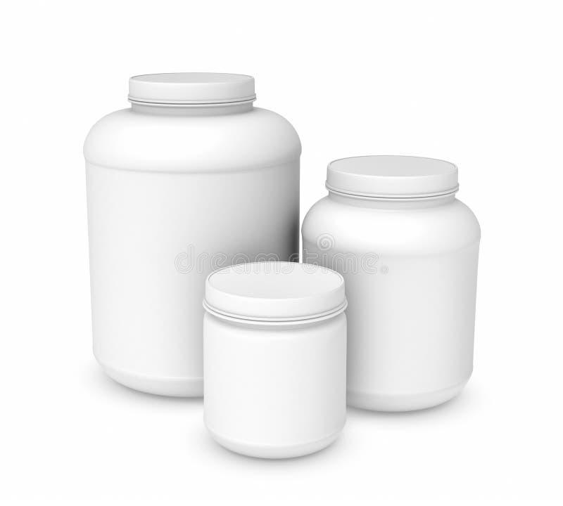 Rendendo três frascos plásticos vazios brancos de tamanhos diferentes ilustração royalty free