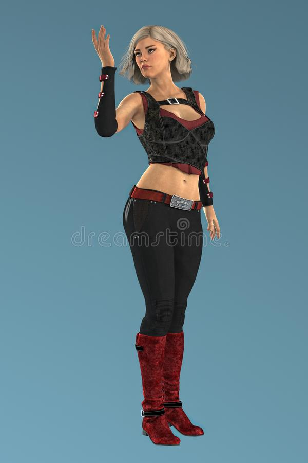 Render of a Beautiful Urban Fantasy Woman Isolated. Isolated beautiful urban fantasy style woman holding her hand in the air in a magical pose. Rendered in a vector illustration