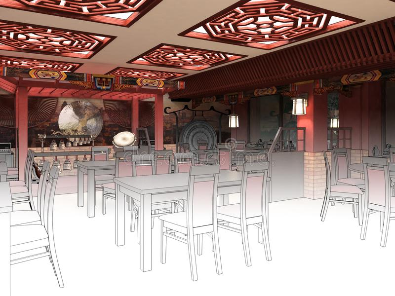 Render black and white sketch of the chinese restaurant