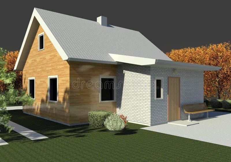 Render: bungalow. Render: new dwelling house, bungalow. Visualisation vector illustration