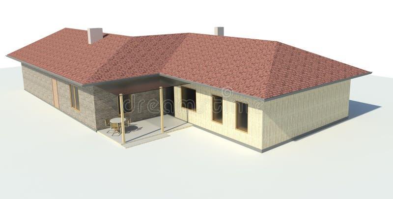 Render: bungalow. Render: the new modern singe family house, bungalow. Visualisation royalty free illustration