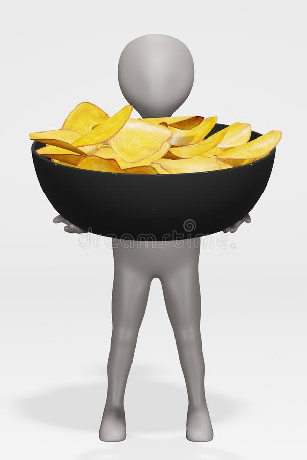 Render of Cartoon Character with Potato Chips ilustracja wektor