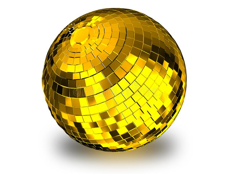 Render 3d-Abbildung des goldenen Disco-Balls auf weißem Hintergrund lizenzfreie abbildung
