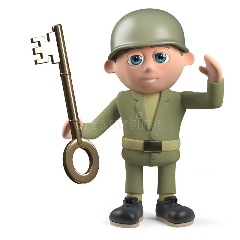 3d army soldier character holding a gold key. Render of a 3d army soldier character holding a gold key stock illustration