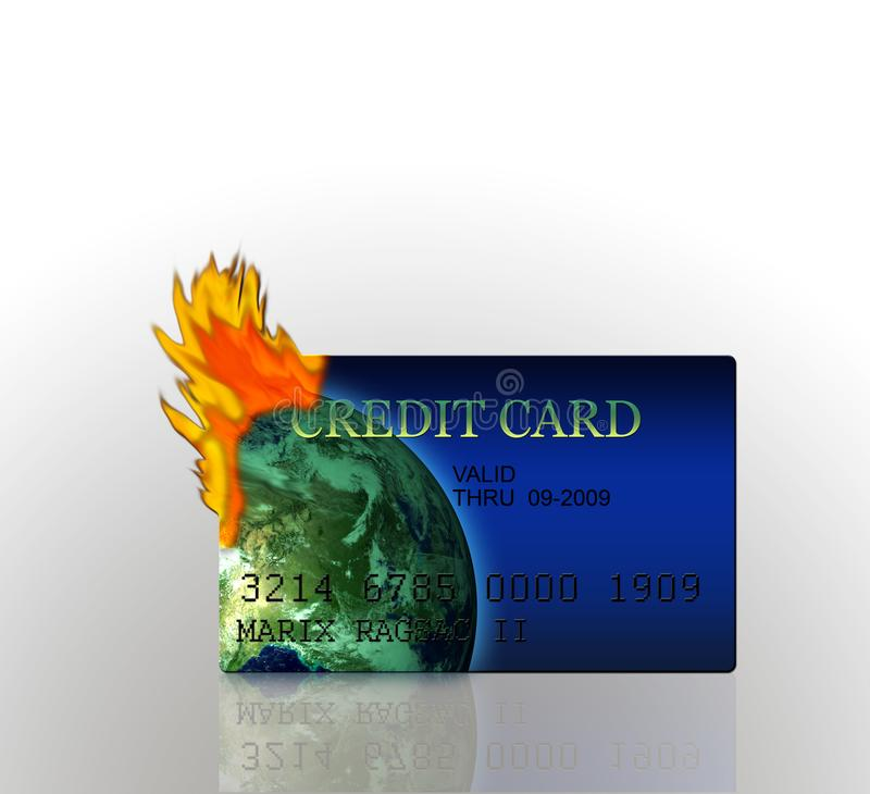 Credit Card Burning. Render of 3D Credit Card burning high resolution - concept of financial difficulty and over spending. Note: all data is fictitious vector illustration