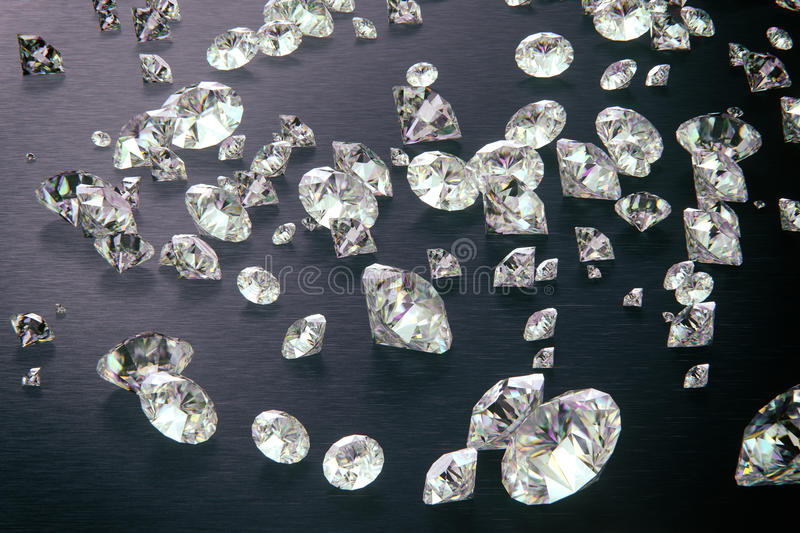 Render of 3d diamonds with dark background royalty free stock photos