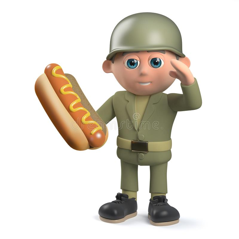 Hungry cartoon army soldier character in 3d holding a hotdog and saluting royalty free illustration