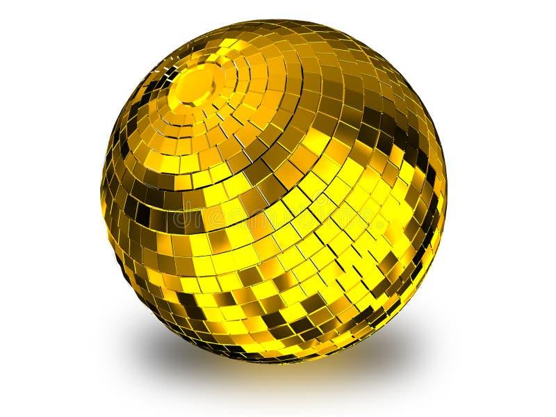 Render 3d ilustracja złotej kuli disco na białym tle royalty ilustracja