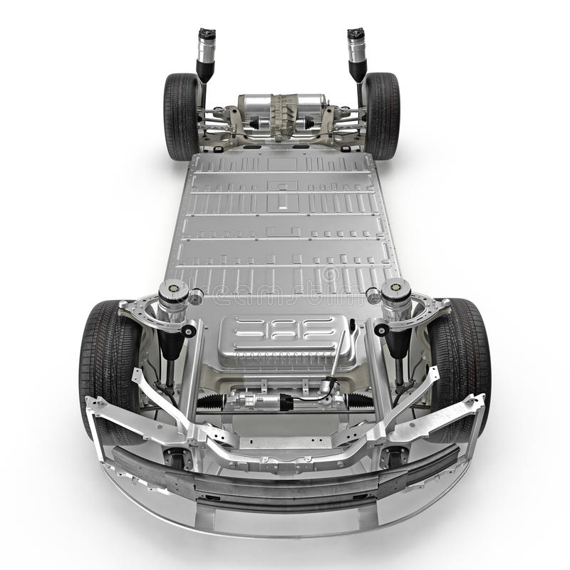 Electric Car Chassis With Battery On White Side View 3d