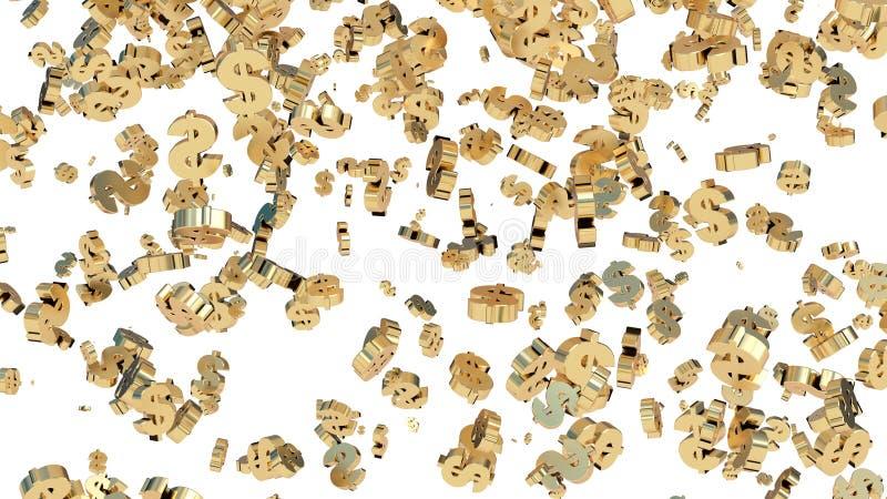 Raining gold dollar signs. White background. 3D render. royalty free illustration