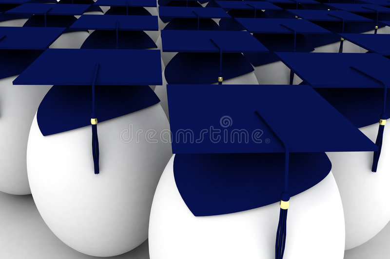 Render of a graduated eggs stock illustration