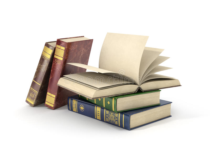 Render of group of different books with blank pages,. Isolated on white background stock illustration