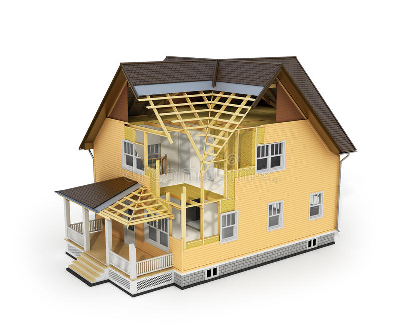 Render of house in construction process. stock photo