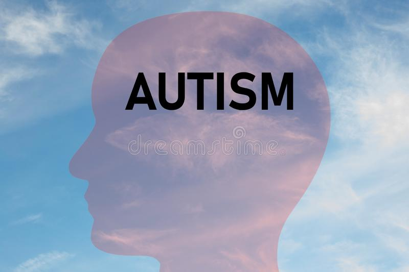 AUTISM - mental concept. Render illustration of AUTISM title on head silhouette, with cloudy sky as a background, april, autist, autistic, awareness, behavior stock illustration
