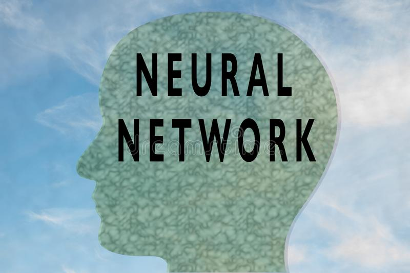 Render illustration of NEURAL NETWORK title on head silhouette, with cloudy sky as a background. Abstract, ai, artificial, axon, biology, brain, cell royalty free stock photos