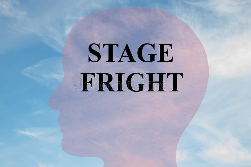 STAGE FRIGHT concept. Render illustration of STAGE FRIGHT title on head silhouette, with cloudy sky as a background, act, anxiety, art, audience, awards stock photo