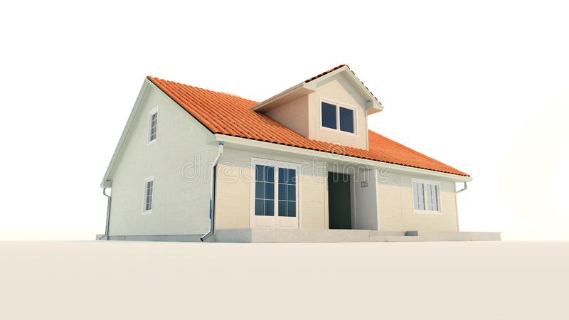 3d family house isolated white background vector illustration