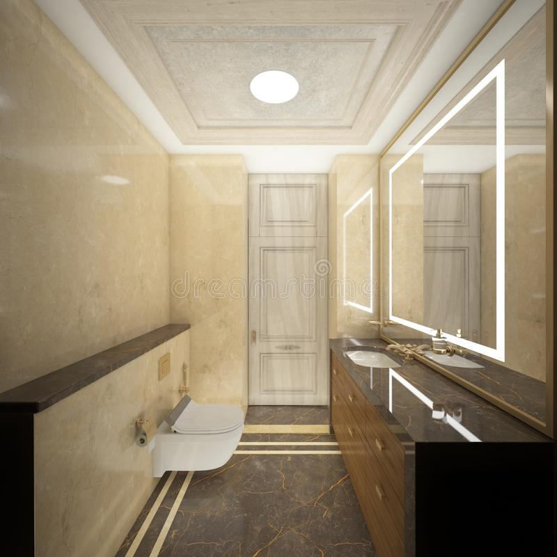Render of the luxury toilet royalty free illustration