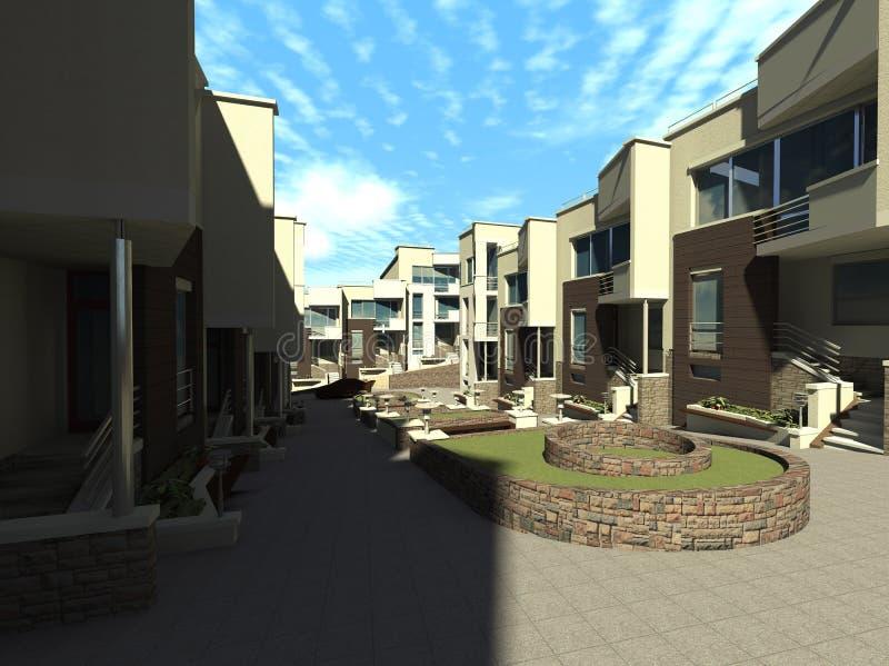Render minimalist housing estate stock illustration