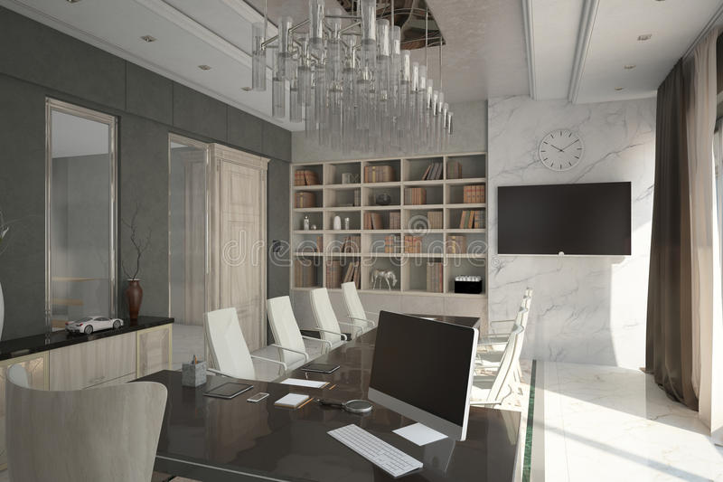 Render of modern expensive cabinet. Architectural visualization of the director`s cabinet stock illustration