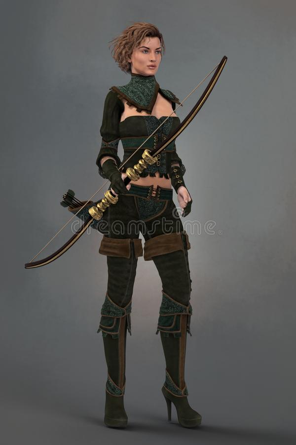 Free Render Of A Female Fantasy Woodlands Ranger Holding A Bow Royalty Free Stock Photos - 149987598