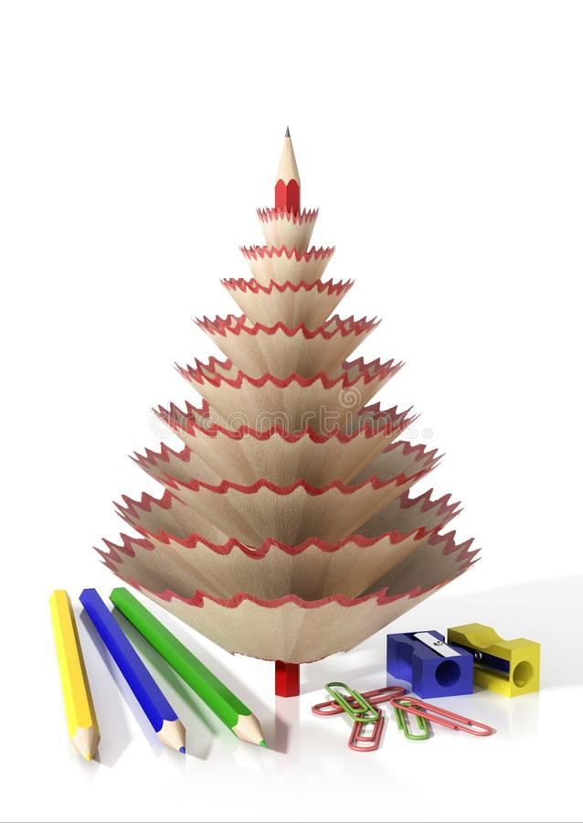Render of office supplies and a tree made with a pencil shavings stock illustration