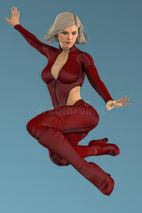 Isolated beautiful CGI urban fantasy woman looking down as she leaps into the air. Render of pretty urban fantasy style woman looking downwards as she jumps into stock illustration