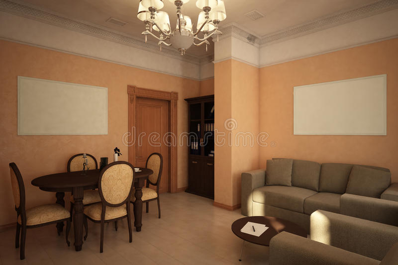 Render of the recreation room. Architectural visualization of the interior of the recreation room in the Victorian style stock illustration