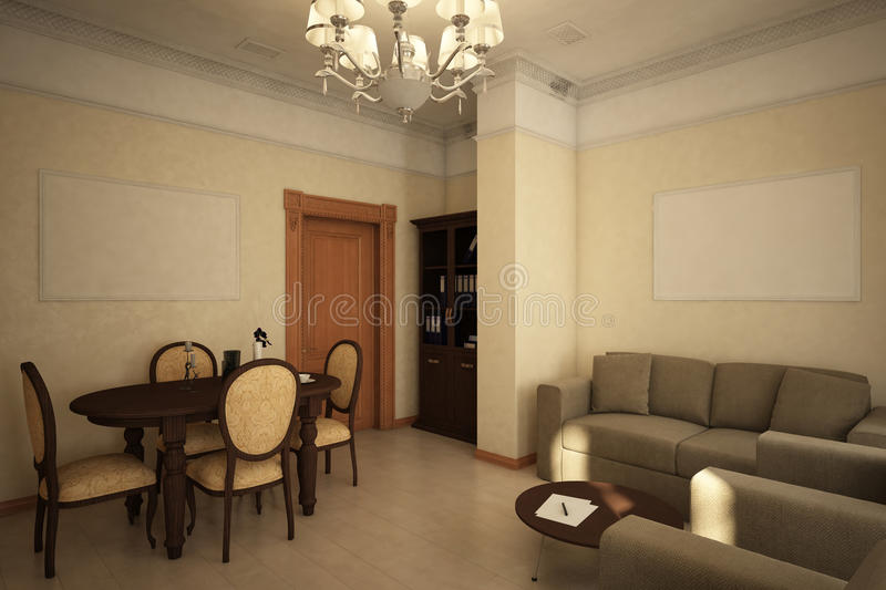 Render of the recreation room. Architectural visualization of the interior of the recreation room in the Victorian style vector illustration