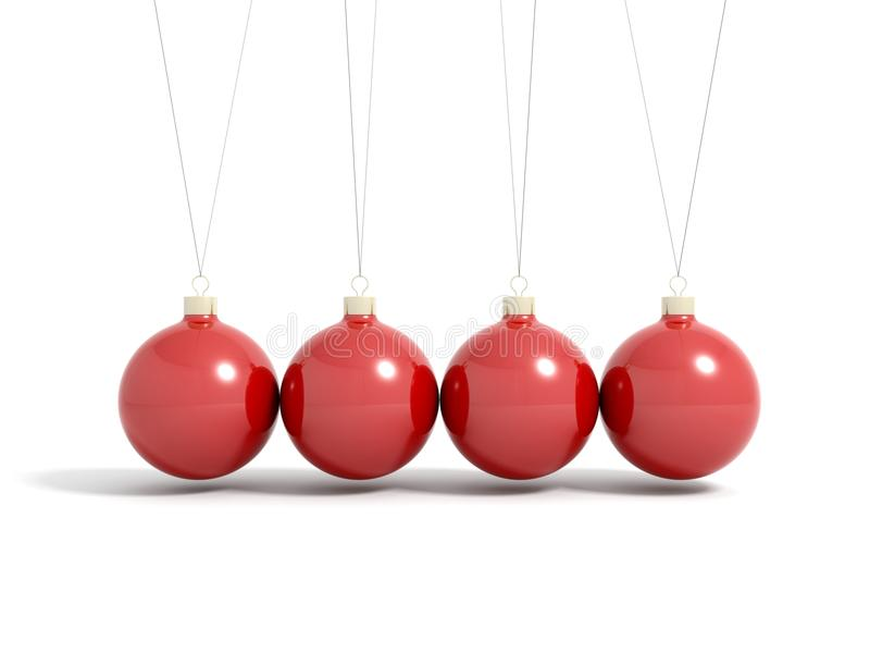 Render of red christmas balls in pendulum vector illustration