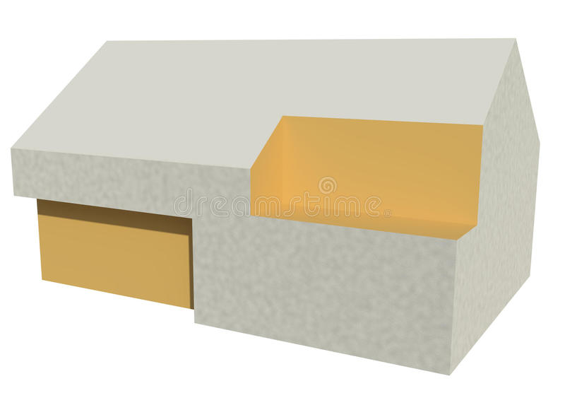 Render: single family house. Render: the abstract 3D model of the single family house royalty free illustration