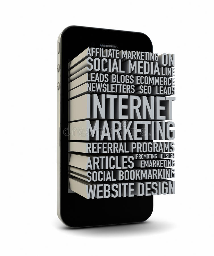 Internet marketing. Render of a smartphone with text on the screen vector illustration