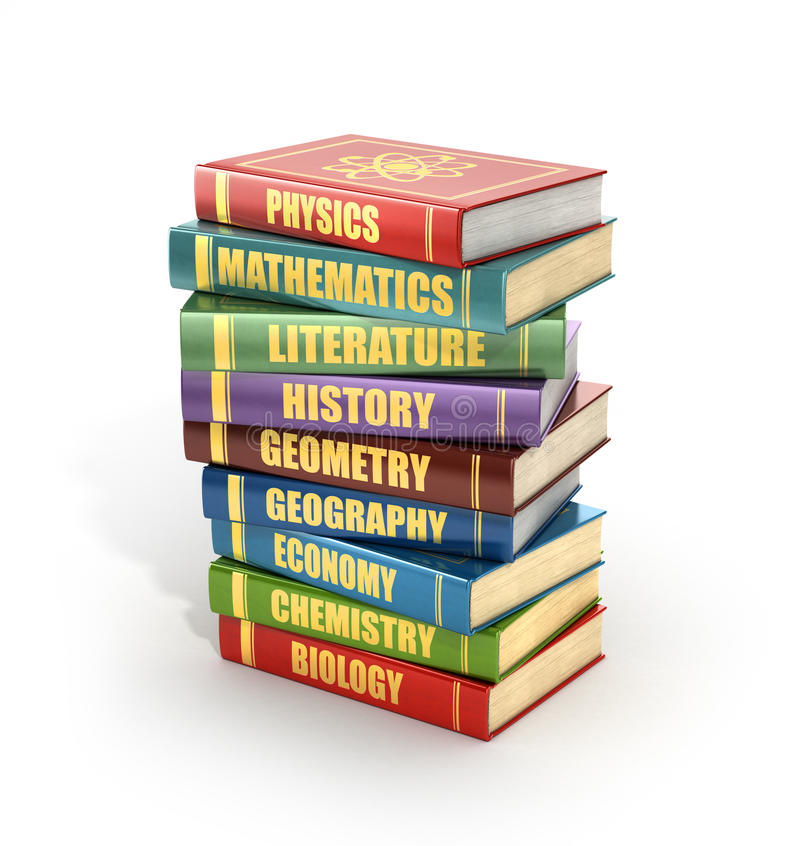render of stack old colorful school books royalty free illustration