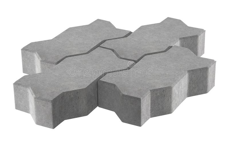 Render of three grey lock paving bricks. Isolated on white background. vector illustration