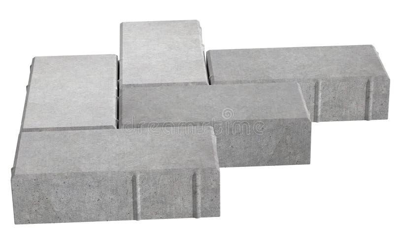 Render of three grey lock paving bricks. Isolated on white background. stock illustration