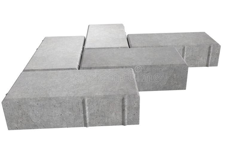 Render of three grey lock paving bricks. Isolated on white background. vector illustration