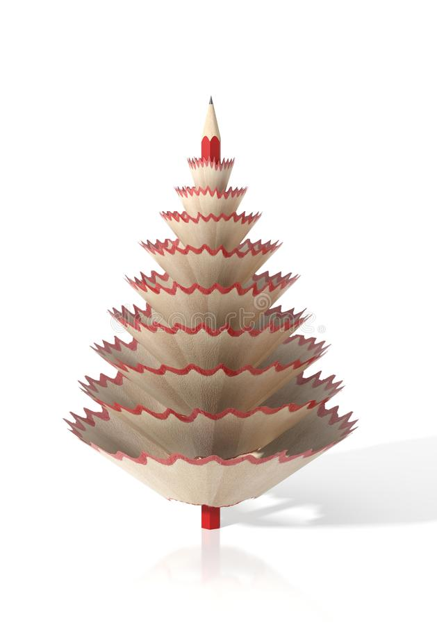 Render of a tree made with a pencil and its wooden shavings. On a white isolated background stock illustration