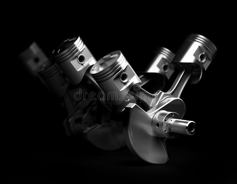 Render of V8 engine pistons and cog. 3d render of V8 engine pistons and cog on black background royalty free illustration