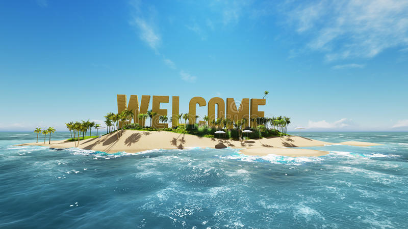render word welcome made of sand on tropical paradise island with palm trees an sun tents. Summer vacation tour concept. royalty free illustration