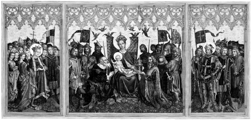 Rendere omaggio a Mary ed al Gesù Cristo infantile   royalty illustrazione gratis