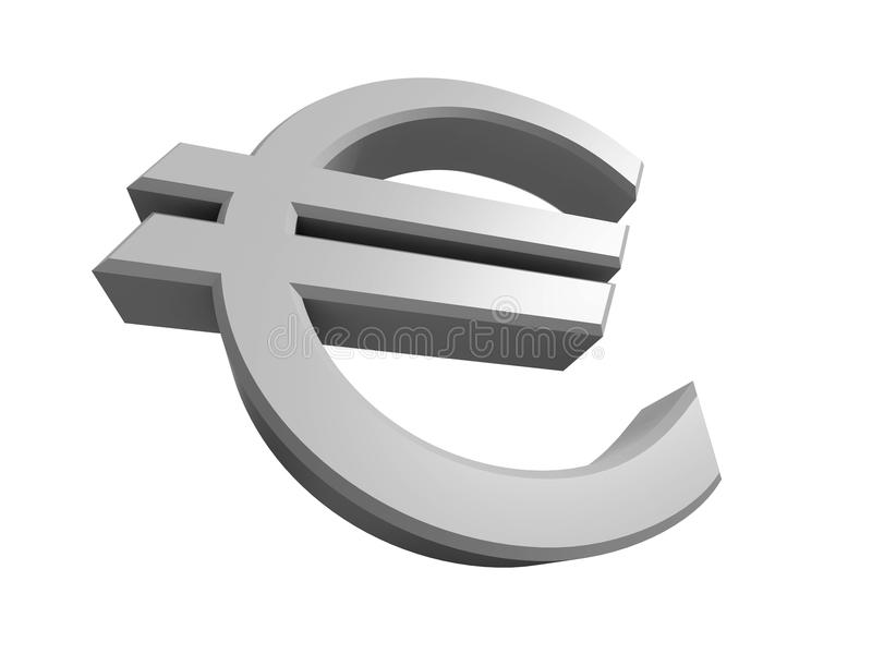 Rendered 3D image of a Euro symbol. Isolated on a white background royalty free illustration