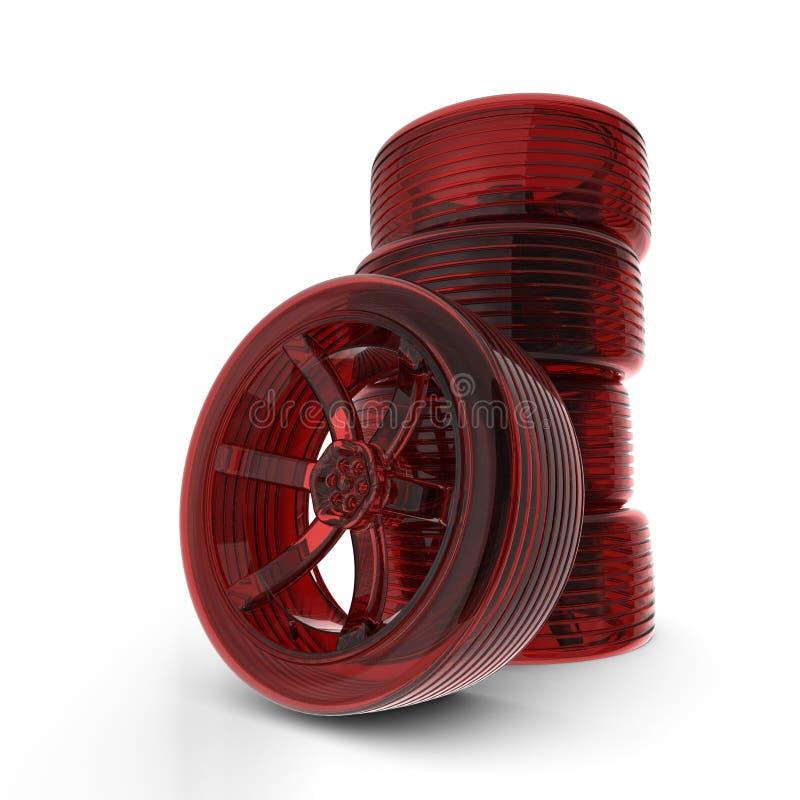 Rendered 3D red car tires. Rendered 3D red transparent car tires royalty free illustration