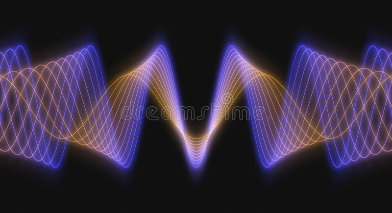 Rendered 3D Wave Forms. Multi-Colored 3D Rendered Audio Waveforms on a Black Background stock illustration