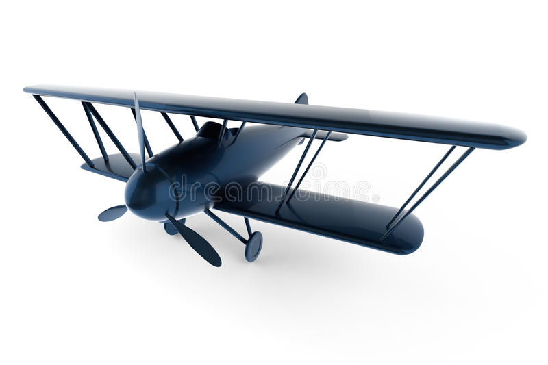 Rendered 3D white toy plane. Rendered 3D white toy isolated on white vector illustration