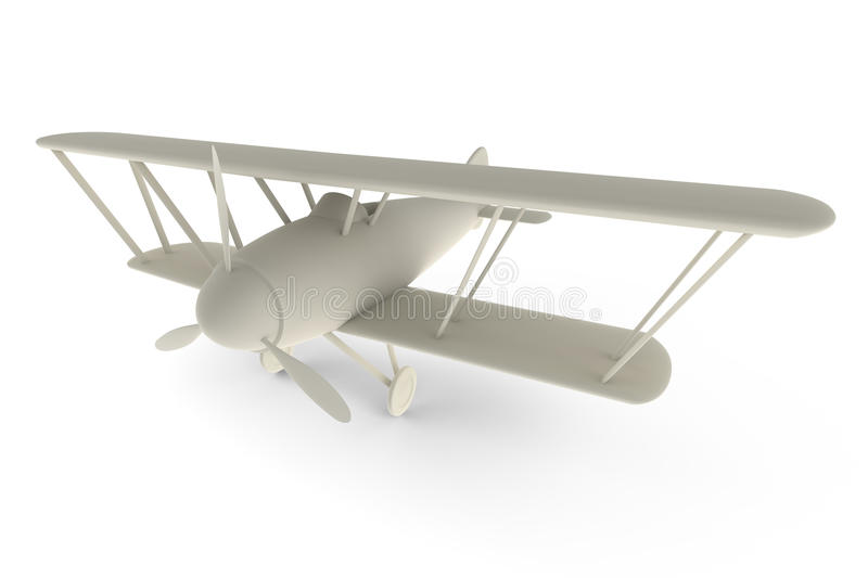 Rendered 3D white toy plane. Isolated on white royalty free illustration