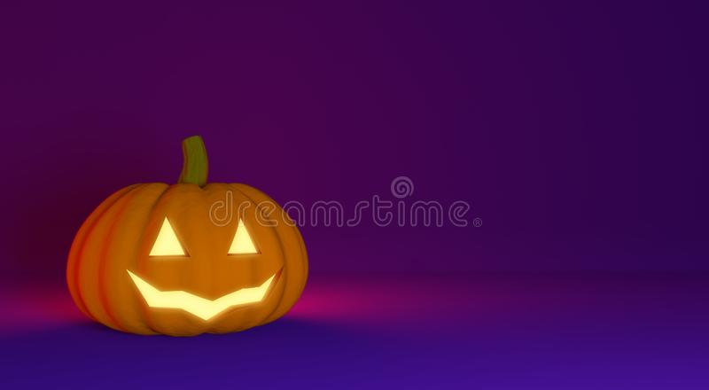 3 rendered background with Halloween Pumpkin Jack Lantern. Holiday Illustration. Copy space royalty free illustration
